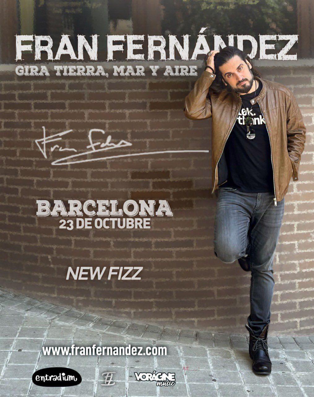 fran fernandez anuncia concierto en barcelona